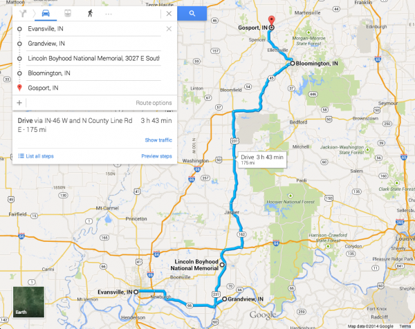This map shows our basic route — Evansville, Grandview, Bloomington, and Gosport.