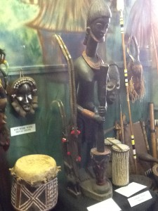Antelope mother & son statue stands beside the talking drum.