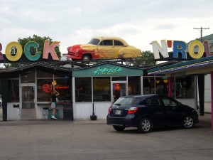 The customized 1952 Chevy on top of Arnold's makes a retro feel for the past.