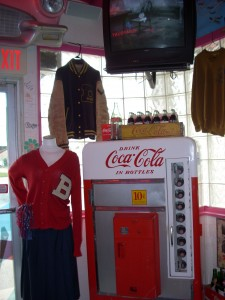 Locals donated letter jackets for decor at Arnold's.