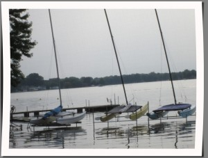 A view of boats on Winona Lake from The Boathouse Restaurant.