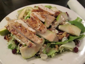 Pear, walnut & grilled chicken salad from The Boathouse tasted yummy!