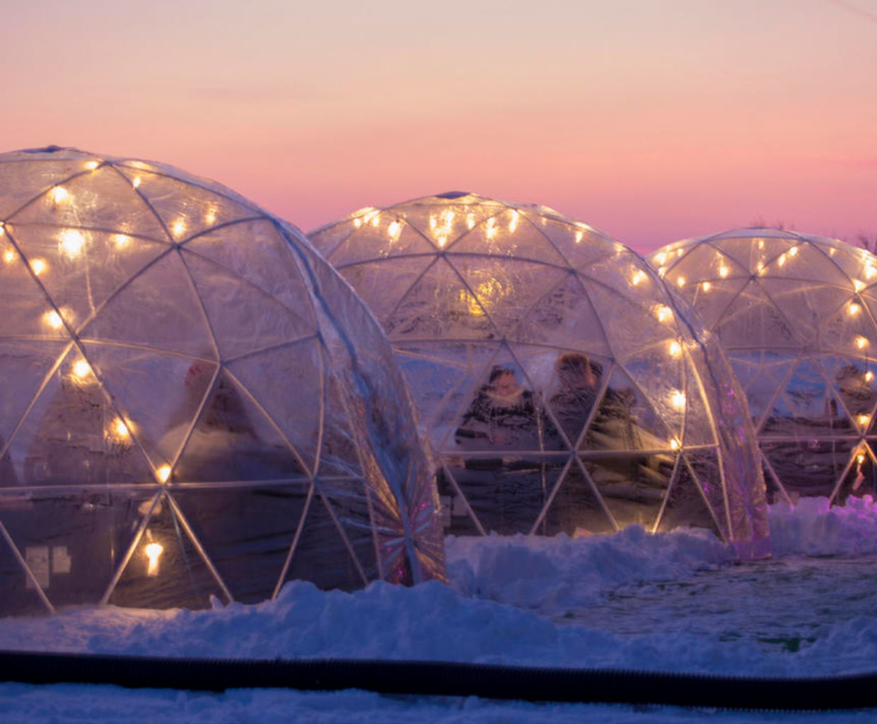 Heated igloos at Urban Vines in Westfield